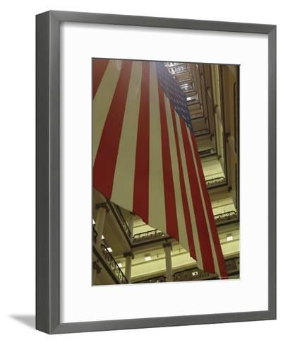 Enormous American Flag Hanging in Marshall Fields Department Store-Paul Damien-Framed Art Print