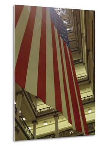 Enormous American Flag Hanging in Marshall Fields Department Store-Paul Damien-Metal Print