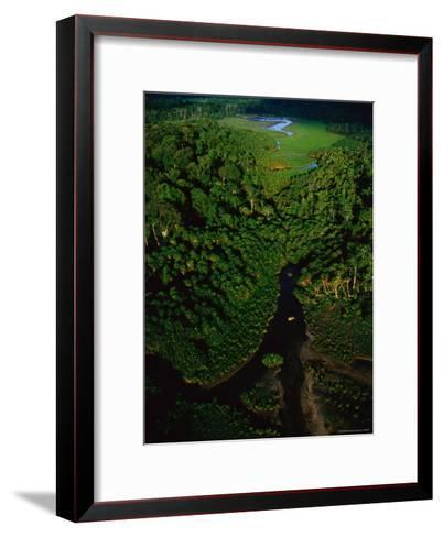 Aerial View of a Rain Forest Interrupted by Small Clearings-Michael Nichols-Framed Art Print