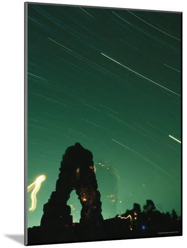 The Silhouette of Knapps Castle during a Meteor Shower--Mounted Photographic Print
