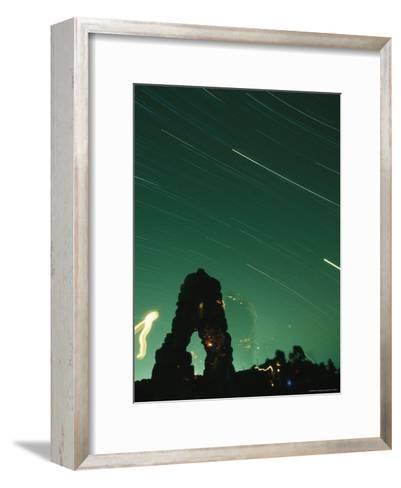 The Silhouette of Knapps Castle during a Meteor Shower--Framed Art Print