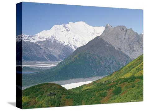 Root Glacier, Mount Blackburn and Donoho Peak Loom above a Green Hill-Rich Reid-Stretched Canvas Print