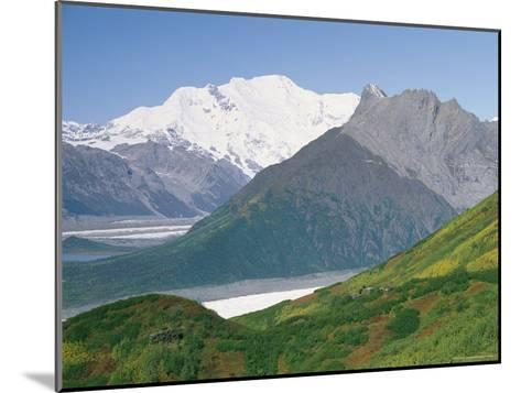 Root Glacier, Mount Blackburn and Donoho Peak Loom above a Green Hill-Rich Reid-Mounted Photographic Print