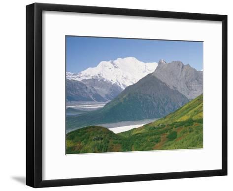 Root Glacier, Mount Blackburn and Donoho Peak Loom above a Green Hill-Rich Reid-Framed Art Print