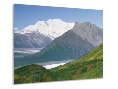 Root Glacier, Mount Blackburn and Donoho Peak Loom above a Green Hill-Rich Reid-Metal Print