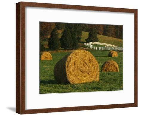Hay Bales Dot a Virginia Hillside-Raymond Gehman-Framed Art Print