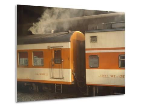 Steam Emanates from the Food Car of a Local Train--Metal Print