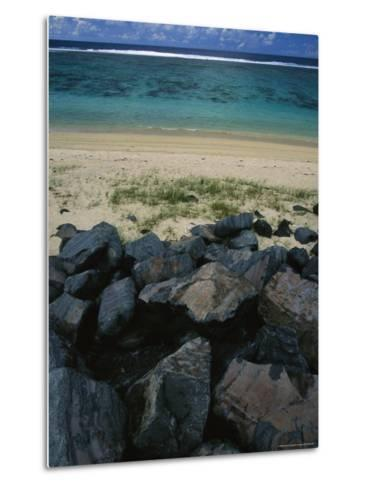 Calm Surf Breaking on Sandy Shore with Dark Stones in Foreground-Todd Gipstein-Metal Print
