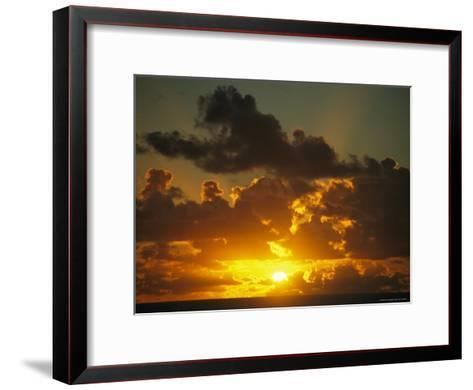 Sunset Through Dramatic Clouds over the Vast Pacific Ocean-Todd Gipstein-Framed Art Print