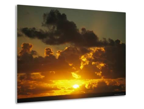 Sunset Through Dramatic Clouds over the Vast Pacific Ocean-Todd Gipstein-Metal Print