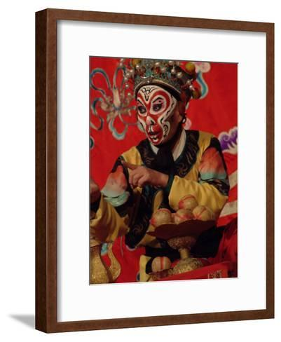 A Chinese Opera Performer in Monkey Makeup and Costume-Richard Nowitz-Framed Art Print