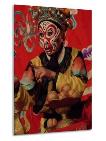 A Chinese Opera Performer in Monkey Makeup and Costume-Richard Nowitz-Metal Print