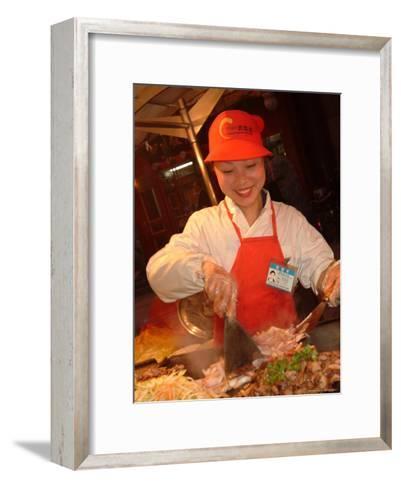 Outdoor Street Vendors Prepare and Sell Food-Richard Nowitz-Framed Art Print