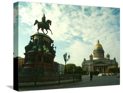 The Golden Dome of Saint Isaacs Cathedral and Statue of Nicholas I-Richard Nowitz-Stretched Canvas Print