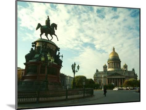 The Golden Dome of Saint Isaacs Cathedral and Statue of Nicholas I-Richard Nowitz-Mounted Photographic Print