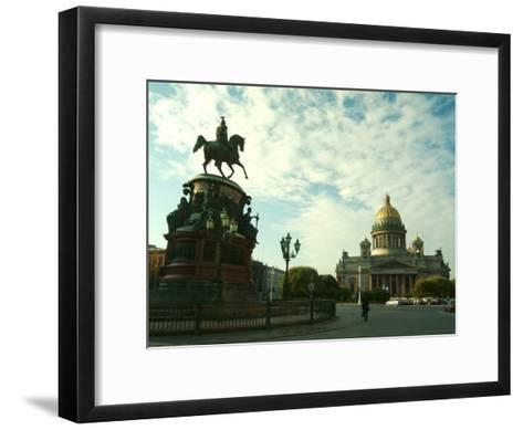 The Golden Dome of Saint Isaacs Cathedral and Statue of Nicholas I-Richard Nowitz-Framed Art Print
