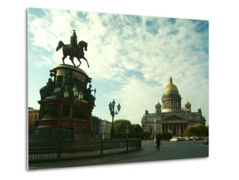 The Golden Dome of Saint Isaacs Cathedral and Statue of Nicholas I-Richard Nowitz-Metal Print