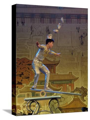 A Juggler Catches Dishes on His Head While Balancing-Richard Nowitz-Stretched Canvas Print