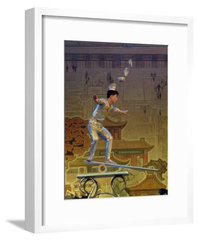 A Juggler Catches Dishes on His Head While Balancing-Richard Nowitz-Framed Art Print