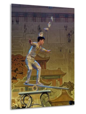 A Juggler Catches Dishes on His Head While Balancing-Richard Nowitz-Metal Print