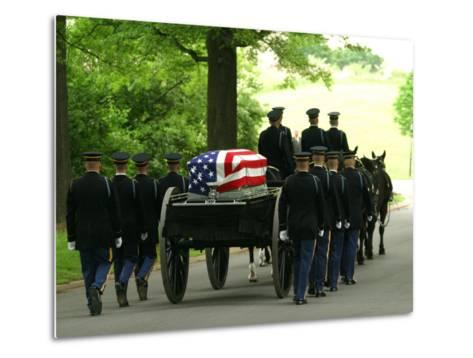 Caisson and Honor Guard on the Way to a Burial Site-Skip Brown-Metal Print
