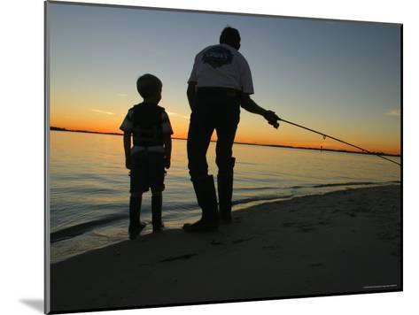 Father and Son Fishing at Dusk-Skip Brown-Mounted Photographic Print