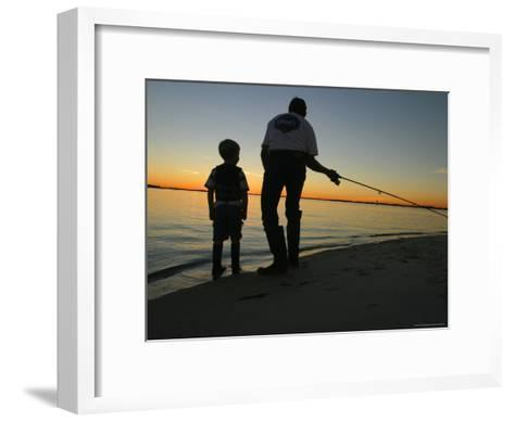 Father and Son Fishing at Dusk-Skip Brown-Framed Art Print