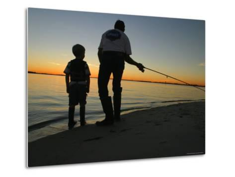 Father and Son Fishing at Dusk-Skip Brown-Metal Print