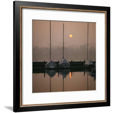 Anchored Sailboats at Sunrise in Mythen Quai Harbor-David Pluth-Framed Art Print