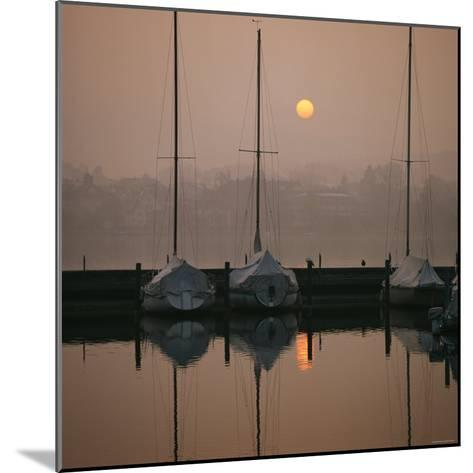 Anchored Sailboats at Sunrise in Mythen Quai Harbor-David Pluth-Mounted Photographic Print