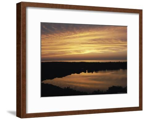 Sunset View of Ocean and Scargo Lake Looking North from Scargo Tower, the Highest Point on Cape Cod-Darlyne A^ Murawski-Framed Art Print
