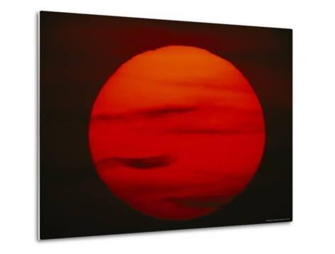 The Sun, Glowing Red as It Sets--Metal Print