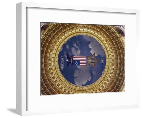 A Flag and State Emblem in the Dome of the Iowa State Capitol-Joel Sartore-Framed Art Print