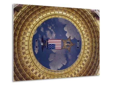 A Flag and State Emblem in the Dome of the Iowa State Capitol-Joel Sartore-Metal Print