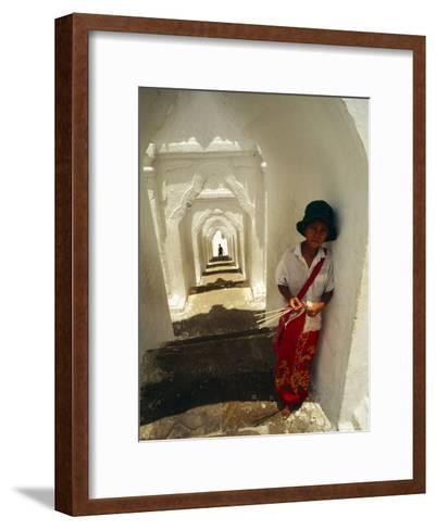 A Young Girl Sells Incense Sticks at an Ancient Temple--Framed Art Print