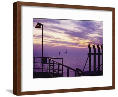 A View Toward Another Platform from an Oil and Gas Drilling Platform--Framed Art Print