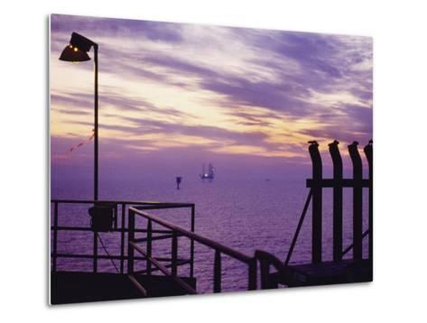 A View Toward Another Platform from an Oil and Gas Drilling Platform--Metal Print