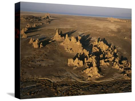 Travertine Chimneys Fashioned by Hot Springs Near Lake Abbe-Peter Carsten-Stretched Canvas Print