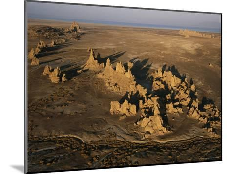 Travertine Chimneys Fashioned by Hot Springs Near Lake Abbe-Peter Carsten-Mounted Photographic Print