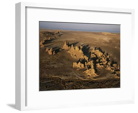 Travertine Chimneys Fashioned by Hot Springs Near Lake Abbe-Peter Carsten-Framed Art Print