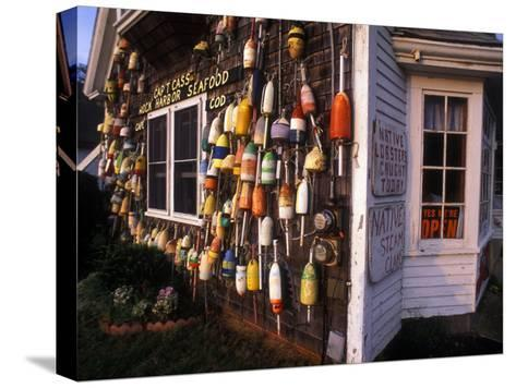 Colorful Lobster Pot Floats Adorning the Wall of a Seafood Shack-Darlyne A^ Murawski-Stretched Canvas Print
