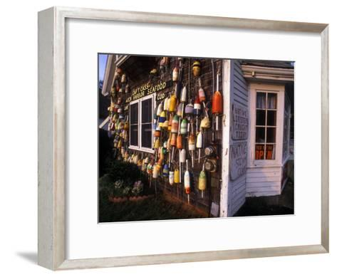 Colorful Lobster Pot Floats Adorning the Wall of a Seafood Shack-Darlyne A^ Murawski-Framed Art Print