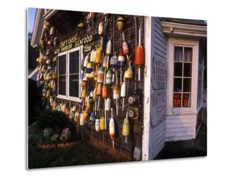 Colorful Lobster Pot Floats Adorning the Wall of a Seafood Shack-Darlyne A^ Murawski-Metal Print