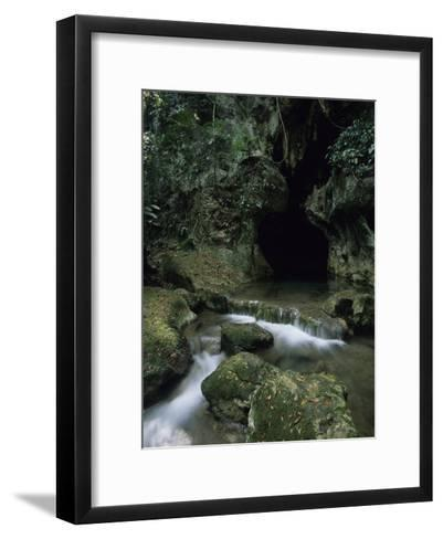 Water Flows from the Mouth of the Tunichil Muknal Cave--Framed Art Print