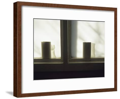 Toilet Paper Rolls Line the Sill of a Window-Raymond Gehman-Framed Art Print