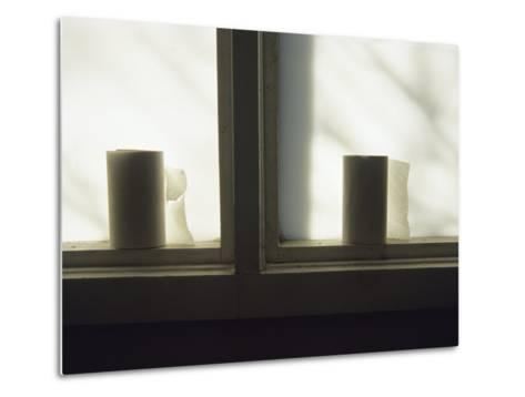 Toilet Paper Rolls Line the Sill of a Window-Raymond Gehman-Metal Print