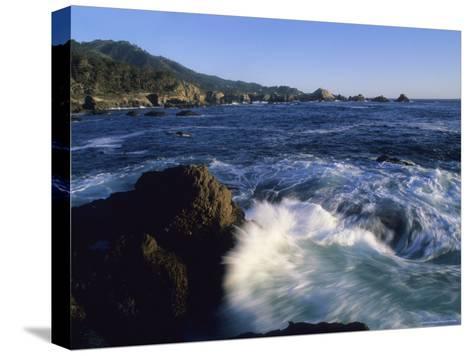 Surf Pounds and Swirls Around Bird Rock at Weston Beach-Rich Reid-Stretched Canvas Print