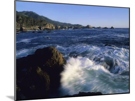 Surf Pounds and Swirls Around Bird Rock at Weston Beach-Rich Reid-Mounted Photographic Print