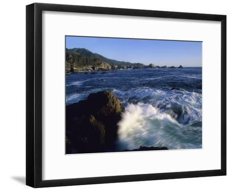 Surf Pounds and Swirls Around Bird Rock at Weston Beach-Rich Reid-Framed Art Print