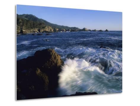 Surf Pounds and Swirls Around Bird Rock at Weston Beach-Rich Reid-Metal Print